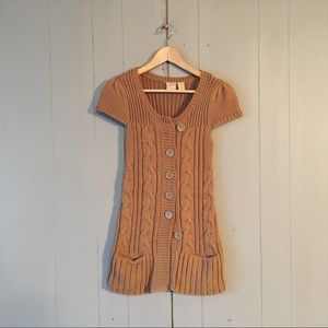 Buckle Camel Short Sleeve Knit Sweater Cardigan